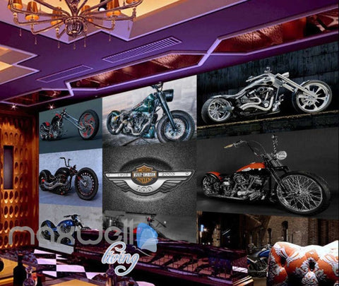 Image of wallpaper collague photo of motor bikes Art Wall Murals Wallpaper Decals Prints Decor IDCWP-JB-000588