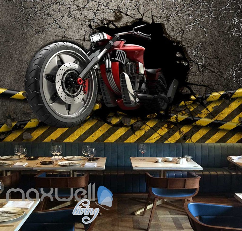 3d wallpaper graphic design red motorbike breaking wall Art Wall