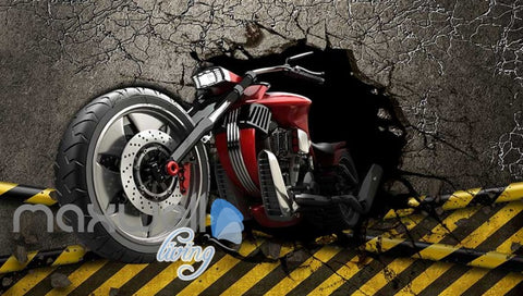 Image of 3d wallpaper graphic design red motorbike breaking wall Art Wall Murals Wallpaper Decals Prints Decor IDCWP-JB-000600