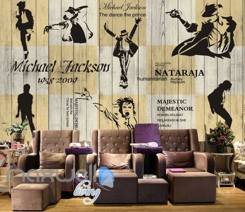 3d graphic wallpaper design of michale jackson silhouette dancing on a wooden wall Art Wall Murals Wallpaper Decals Prints Decor IDCWP-JB-000601