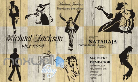 Image of 3d graphic wallpaper design of michale jackson silhouette dancing on a wooden wall Art Wall Murals Wallpaper Decals Prints Decor IDCWP-JB-000601
