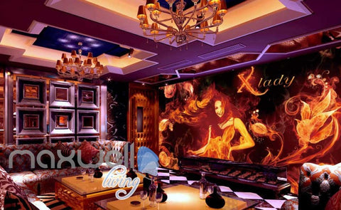 Image of 3d wallpaper with lady and fire for a ktv club room Art Wall Murals Wallpaper Decals Prints Decor IDCWP-JB-000602