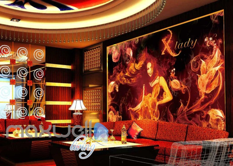 3d wallpaper with lady and fire for a ktv club room Art Wall Murals Wallpaper Decals Prints Decor IDCWP-JB-000602