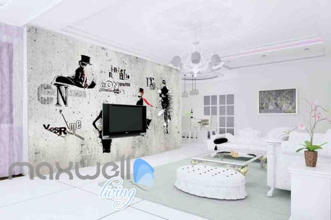 Image of white and black wallpaper with letters and a man Art Wall Murals Wallpaper Decals Prints Decor IDCWP-JB-000606