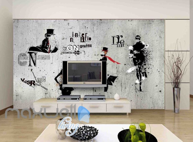 white and black wallpaper with letters and a man Art Wall Murals Wallpaper Decals Prints Decor IDCWP-JB-000606