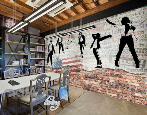 Image of graphic design wallpaper with black and white michael jackson and usa flag Art Wall Murals Wallpaper Decals Prints Decor IDCWP-JB-000610