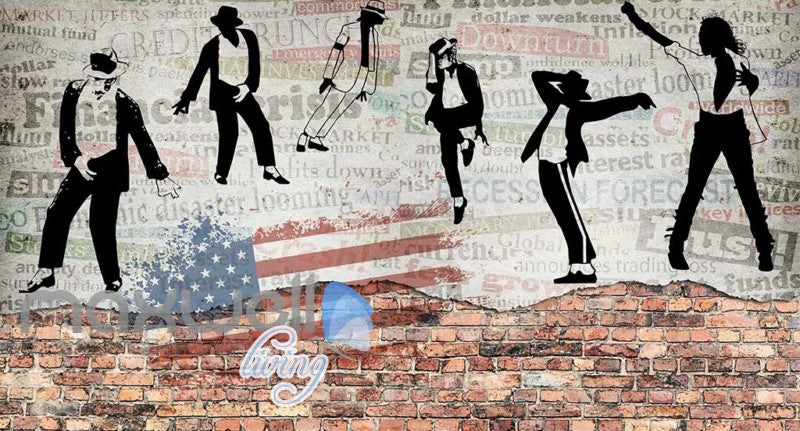 graphic design wallpaper with black and white michael jackson and usa flag Art Wall Murals Wallpaper Decals Prints Decor IDCWP-JB-000610