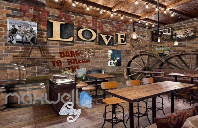 3d Wallpaper Barn Brick Wall With Letters And Wooden