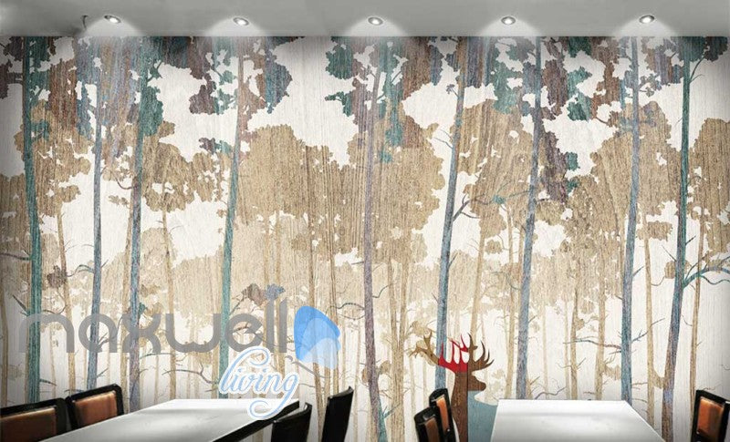 graphic design wallpaper colorful trees and deer Art Wall Murals Wallpaper Decals Prints Decor IDCWP-JB-000623