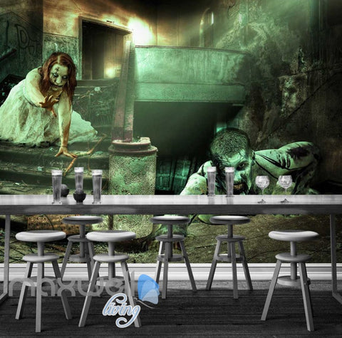 Image of 3d wallpaper scary halloween dead people in a building Art Wall Murals Wallpaper Decals Prints Decor IDCWP-JB-000624