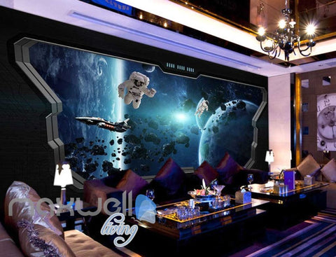 Image of 3d wallpaper of space with astronauts from a space ship window Art Wall Murals Wallpaper Decals Prints Decor IDCWP-JB-000625