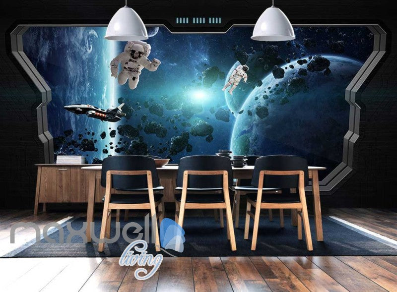 3d wallpaper of space with astronauts from a space ship window Art Wall Murals Wallpaper Decals Prints Decor IDCWP-JB-000625