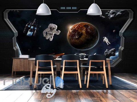 Image of 3d wallpaper of space with astronauts from a space ship window Art Wall Murals Wallpaper Decals Prints Decor IDCWP-JB-000626