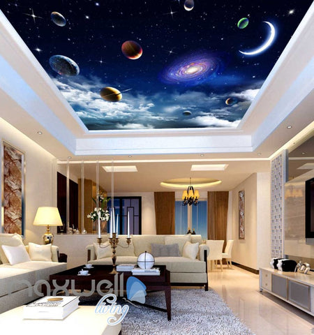 Image of 3d wallpaper planet space view ceiling Art Wall Murals Wallpaper Decals Prints Decor IDCWP-JB-000632