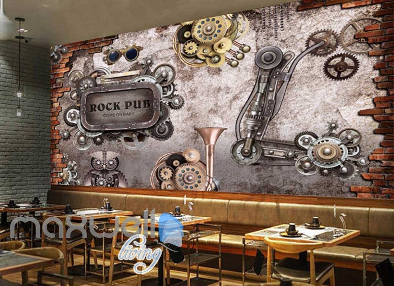 retro wallpaper with gears and metal rock pub sign Art Wall Murals