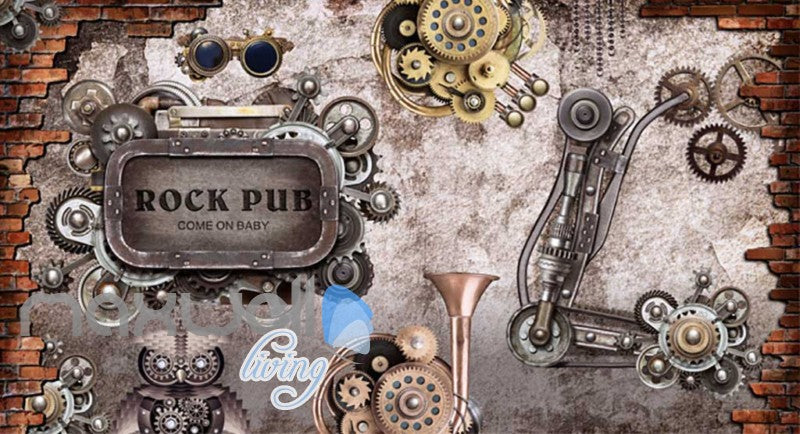 retro wallpaper with gears and metal rock pub sign Art Wall Murals Wallpaper Decals Prints Decor IDCWP-JB-000646