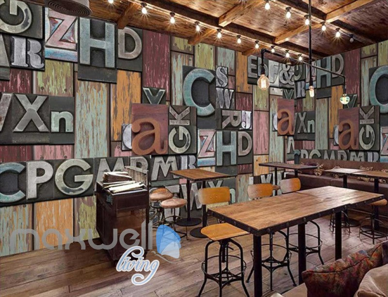 retro wallpaper with typographyc letters on wooden wall Art Wall