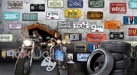 Image of 3D Motorbikes Breaking Through Cement Wall With Several Car Licence Plates Art Wall Murals Wallpaper Decals Prints Decor IDCWP-JB-000648