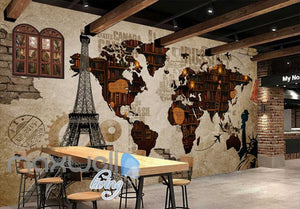 World Collage With Books And Eiffel Tower Art Wall Murals Wallpaper Decals Prints Decor IDCWP-JB-000649