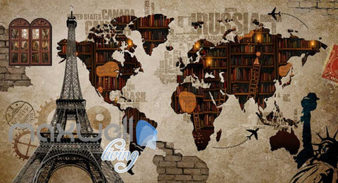 Image of World Collage With Books And Eiffel Tower Art Wall Murals Wallpaper Decals Prints Decor IDCWP-JB-000649