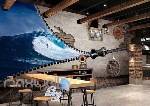 Image of 3D Zipper On Wall Half Beach And Half Living Room Wall Art Wall Murals Wallpaper Decals Prints Decor IDCWP-JB-000652