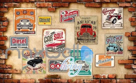 3D Posters Of Cars On Broken Brick Wall Art Wall Murals Wallpaper Decals Prints Decor IDCWP-JB-000653