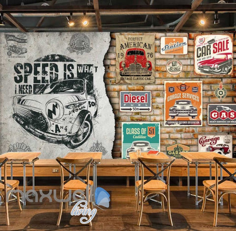 Image of 3D Poster Of Cars And Painting Design Of A Car Art Wall Murals Wallpaper Decals Prints Decor IDCWP-JB-000654