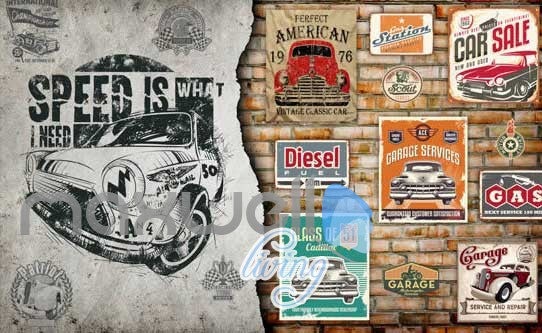 3D Poster Of Cars And Painting Design Of A Car Art Wall Murals Wallpaper Decals Prints Decor IDCWP-JB-000654