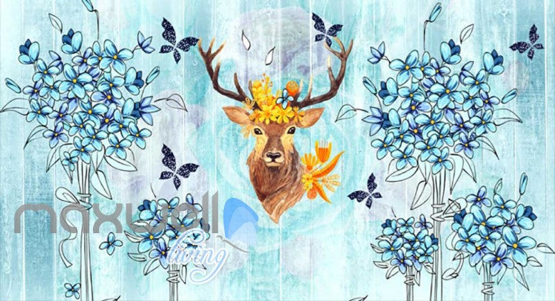 Vintage Painting Of Blue Flowers And A Brown Deer Head Art Wall Murals Wallpaper Decals Prints Decor IDCWP-JB-000655