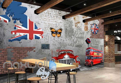 Image of 3D Vintage Old Read Car Red London Bus Cement Wall With Some Bricks Art Wall Murals Wallpaper Decals Prints Decor IDCWP-JB-000660