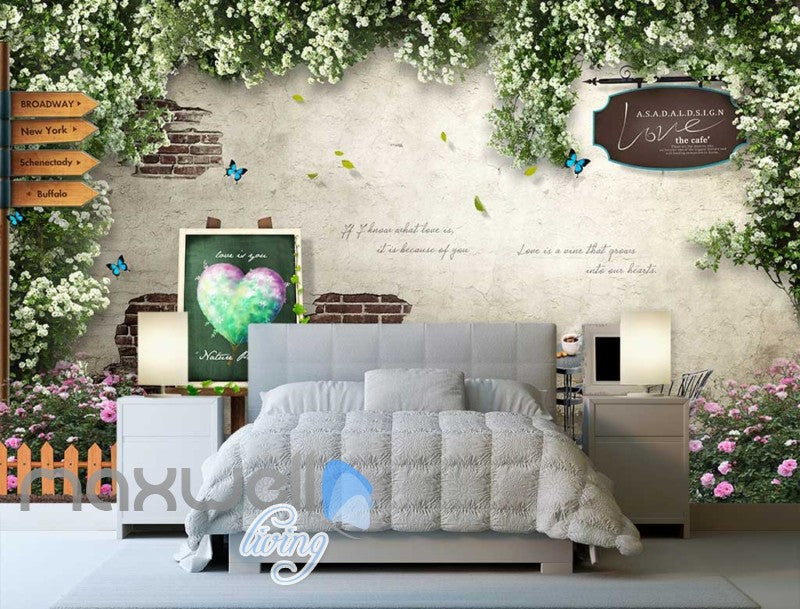 3D Portrait Mural With Flowers Chair And Table Art Wall Murals Wallpaper Decals Prints Decor IDCWP-JB-000664
