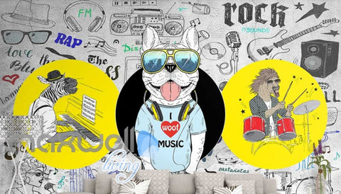 Image of Graphic Design 3D Cartoon Dj Dog With Sunglasses Headphones And A Horse Playing Drums And Zebbra Playing Piano Art Wall Murals Wallpaper Decals Prints Decor IDCWP-JB-000665