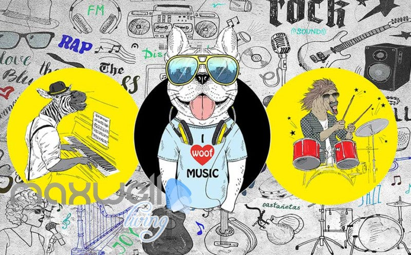 Graphic Design 3D Cartoon Dj Dog With Sunglasses Headphones And A Horse Playing Drums And Zebbra Playing Piano Art Wall Murals Wallpaper Decals Prints Decor IDCWP-JB-000665