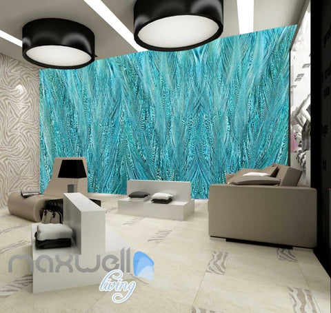 Image of Graphic Design Pattern Blue Green Feathers Art Wall Murals Wallpaper Decals Prints Decor IDCWP-JB-000666