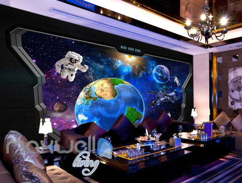 Image of 3D View Of Space World Astronaut From Space Ship Art Wall Murals Wallpaper Decals Prints Decor IDCWP-JB-000668