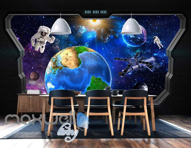 3D View Of Space World Astronaut From Space Ship Art Wall Murals Wallpaper Decals Prints Decor IDCWP-JB-000668