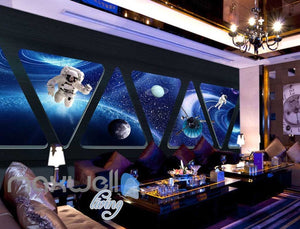3D View Of Space Astronauts Moon Planets From Triangle Shape Windows Of Spaceship Art Wall Murals Wallpaper Decals Prints Decor IDCWP-JB-000669