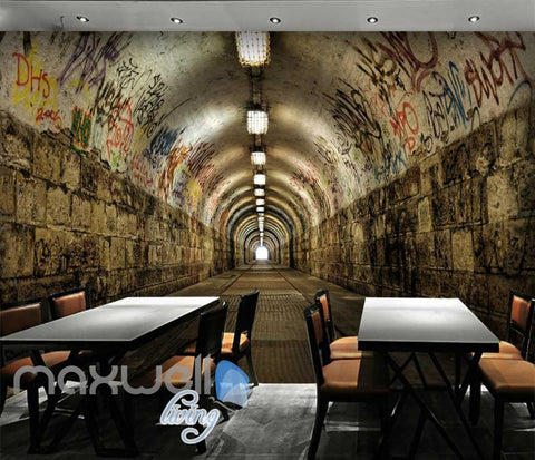 Image of 3D Tunnel With Graffiti On Wall Art Wall Murals Wallpaper Decals Prints Decor IDCWP-JB-000671