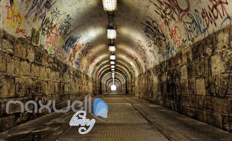 3D Tunnel With Graffiti On Wall Art Wall Murals Wallpaper Decals Prints Decor IDCWP-JB-000671