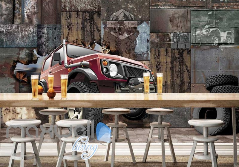 3D Jeep Breaking Through Metal Block Art Wall Murals Wallpaper Decals Prints Decor IDCWP-JB-000672
