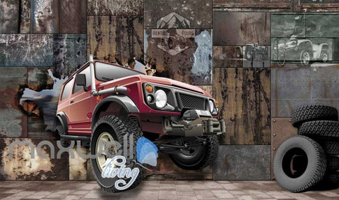 Image of 3D Jeep Breaking Through Metal Block Art Wall Murals Wallpaper Decals Prints Decor IDCWP-JB-000672