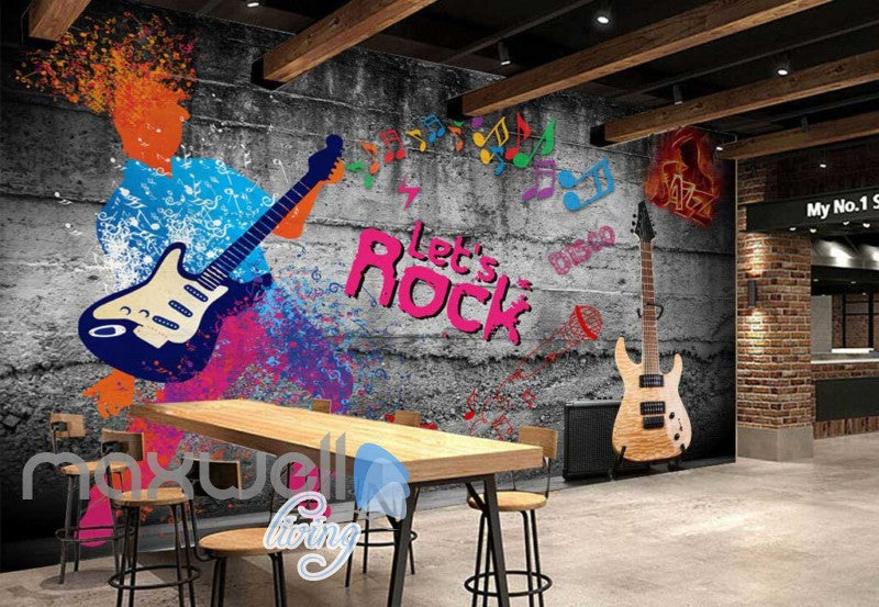 graphic design of colourful men playing a guitar art wall muralstap to expand