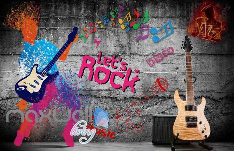 Graphic Design Of Colourful Men Playing A Guitar  Art Wall Murals Wallpaper Decals Prints Decor IDCWP-JB-000680