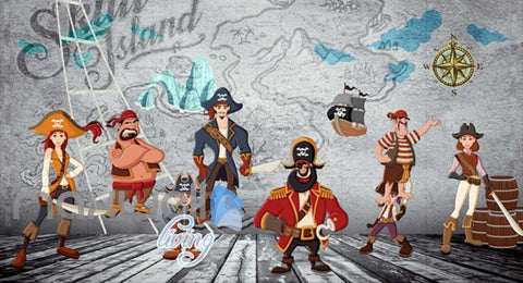 Image of Cartoon Pirates On A Boat With Treasure Map Wall Art Wall Murals Wallpaper Decals Prints Decor IDCWP-JB-000690