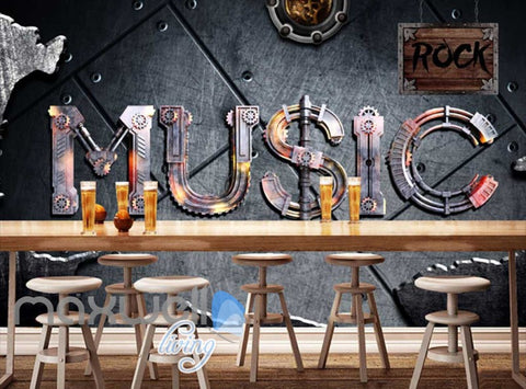 Image of Metallic Wall With Music Gear Word Art Wall Murals Wallpaper Decals Prints Decor IDCWP-JB-000702