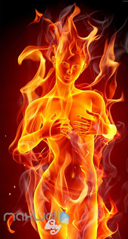 Image of Graphic Design With Woman On Fire Art Wall Murals Wallpaper Decals Prints Decor IDCWP-JB-000704