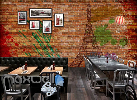 Image of Brick Wall With Eiffel Tower And London Photographs Art Wall Murals Wallpaper Decals Prints Decor IDCWP-JB-000706