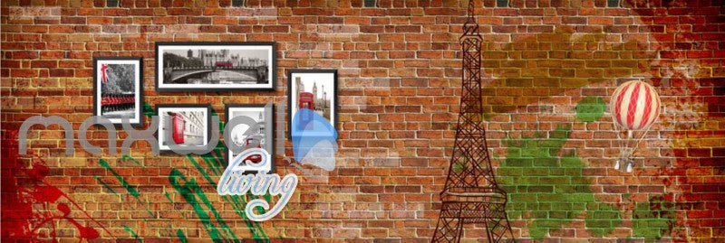 Brick Wall With Eiffel Tower And London Photographs Art Wall Murals Wallpaper Decals Prints Decor IDCWP-JB-000706