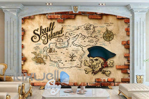 Treasure Map On Broken Brick Wall Art Wall Murals Wallpaper Decals Prints Decor IDCWP-JB-000707