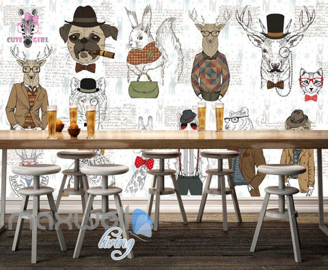 Image of Drawings Of Hipster Animals With Clothes Art Wall Murals Wallpaper Decals Prints Decor IDCWP-JB-000708